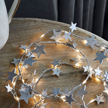 Wooden Silver Star Fairy Light Garland