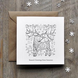 Colour In Deer Christmas Card - cards sent direct