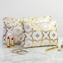 Metallic Wash Bag In White And Gold
