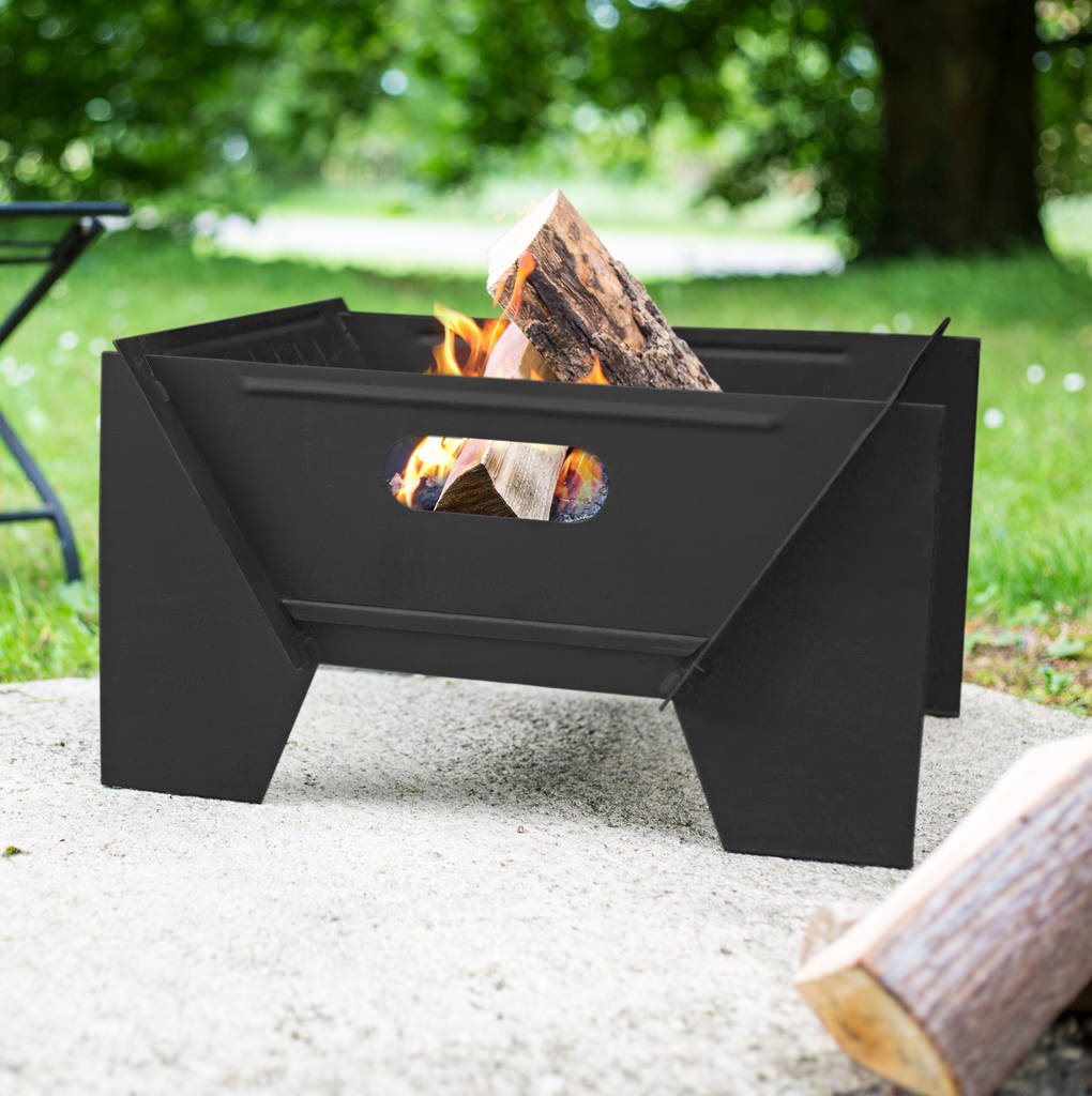 Modern Black Steel Fire Pit