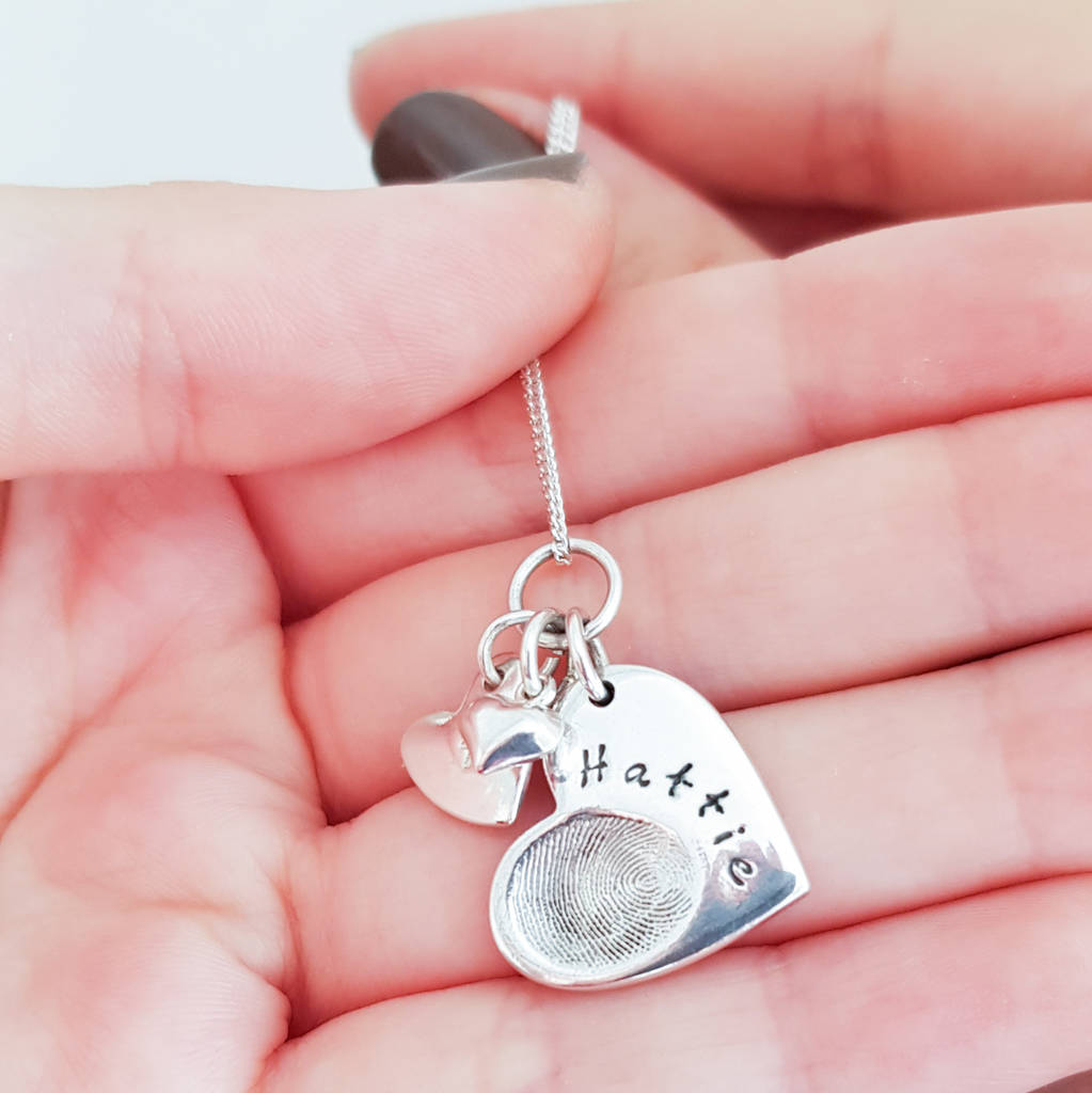 personalised silver fingerprint charm necklace by button and bean ...