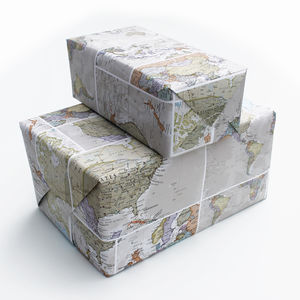 Classic World Map Wrapping Paper