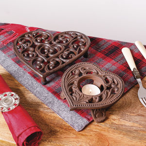6th Anniversary Cast Iron Trivet And Candle Holder Set