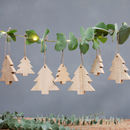 Set Of Four Hanging Wooden Tree Decorations