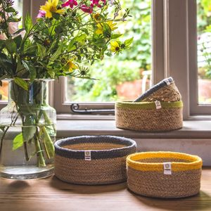 Shallow Jute And Seagrass Baskets - baskets
