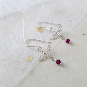 Sterling Silver Bee And Gemstone Earrings - earrings