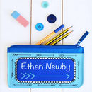 Personalised Blue Arrow Pencil Case