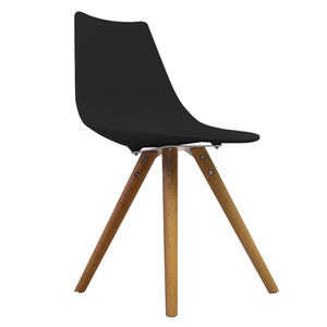 Black Oslo Chair With Wooden Legs - dining chairs