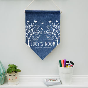 Personalised Child's Denim Butterfly Pennant