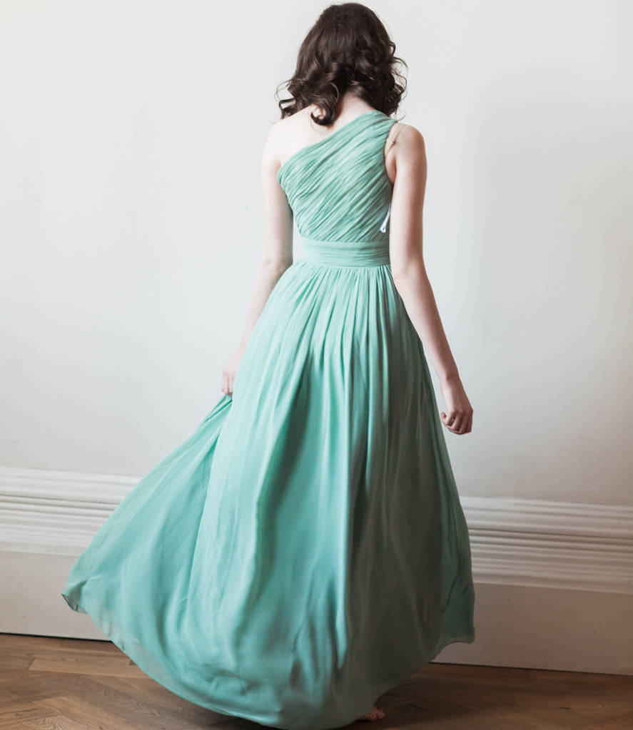 floor length one shoulder long bridesmaid or prom dress by ...