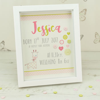 Personalised Buttons Child's Box Framed Print