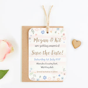 Pastel Floral With Watercolour Stripe Save The Date