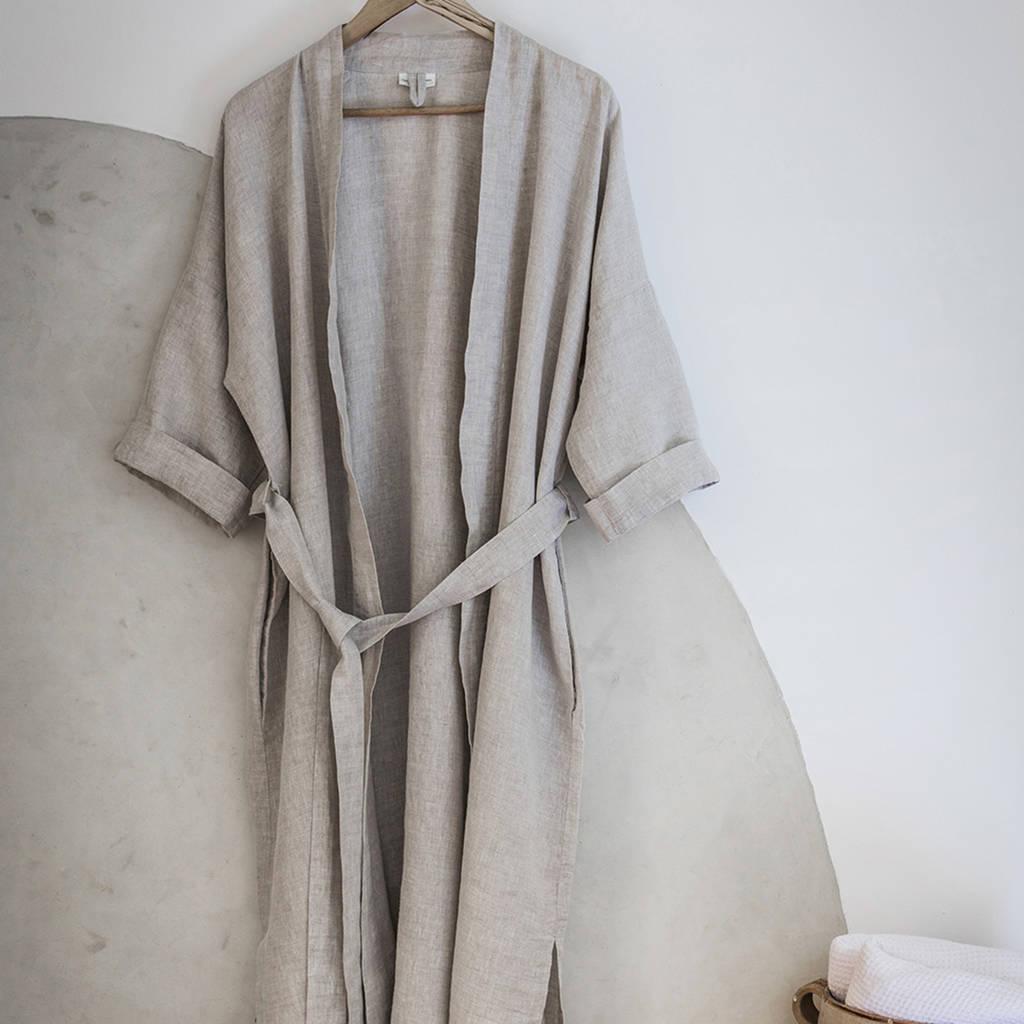 d8ec35504d ecru linen bath robe by the linen works