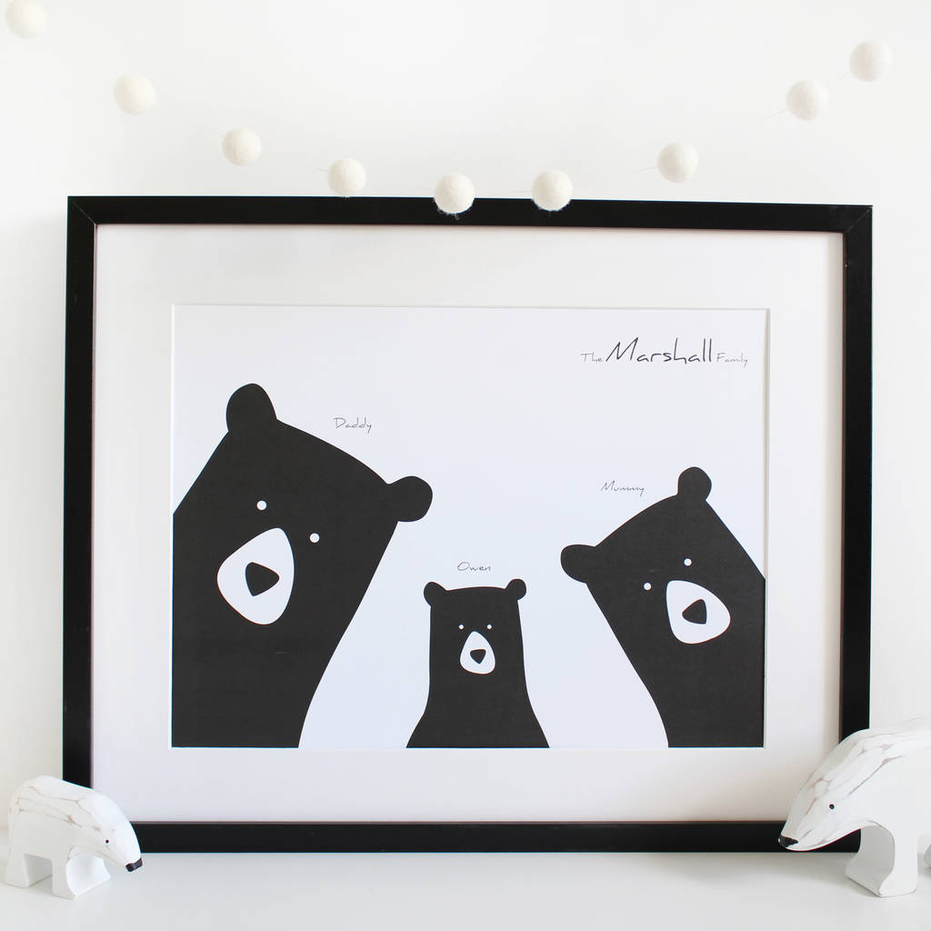 personalised a3 bear family selfie portrait print by heather alstead