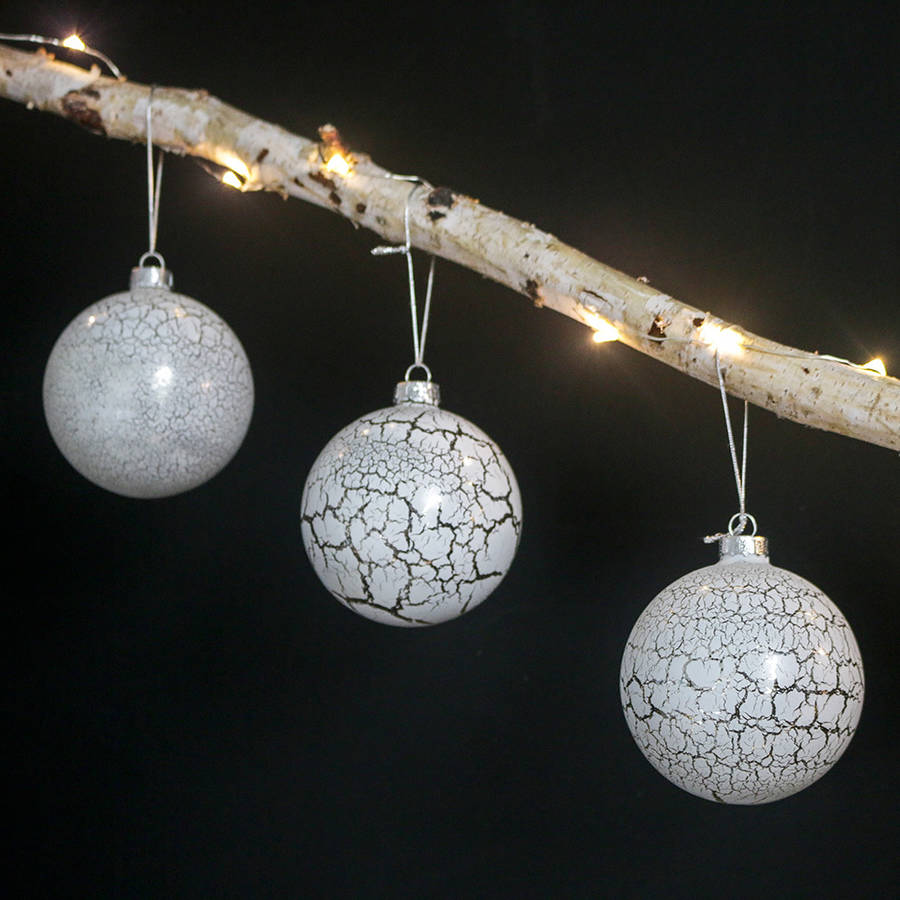 Set Of Three Marble Effect Glass Baubles By The Little