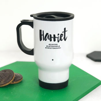 Personalised Monochrome #Hashtag Travel Mug