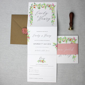 Floral Botanical Wedding Invitation Suite