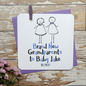 Personalised Brand New Grandparents Baby Card