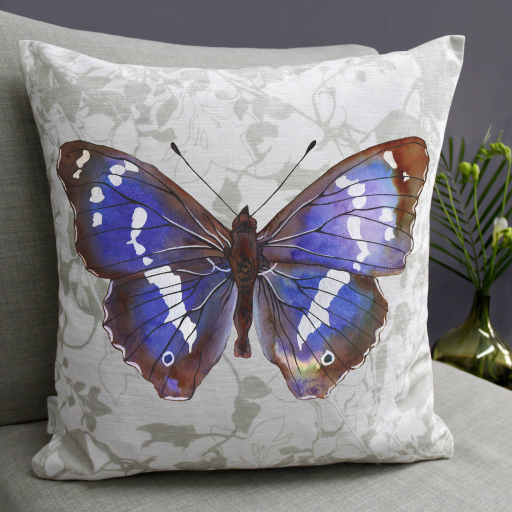 Purple Emperor Butterfly Print Cushion