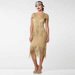 Gatsbylady Annette Fringe Flapper Dress In Antique Gold - wedding dresses