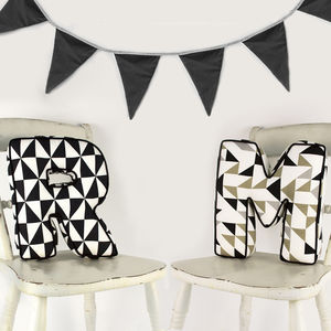 Personalised Monochrome Letter Cushion - children's room