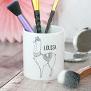 Monochrome Llama Personalised Make Up Brush Pot