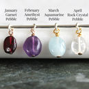 january garnet, february amethyst, march aquamarine and april rock crystal birthstone pebbles