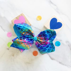 Girls Extra Large Mermaid Print Dance Hair Bow