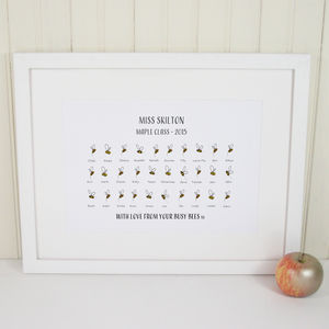 Personalised 'Busy Bees' Teacher's Print