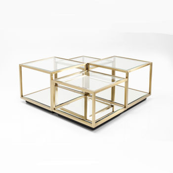 Set Of Four Brass And Glass Coffee Tables
