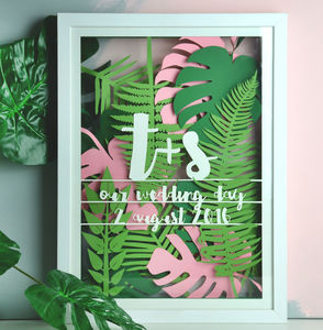 Personalised Tropical Leaf Multi Layered Papercut - 100 best wedding prints