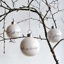 Set Of Three White Porcelain Christmas Baubles