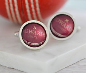 Personalised Cricket Ball Cufflinks - jewellery