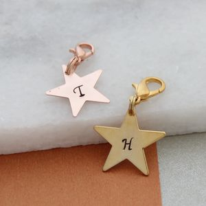 Personalised Rose Or Yellow Gold Star Charm - bag charms