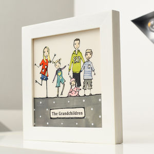 Personalised Grandchildren Portrait Framed Tile Picture