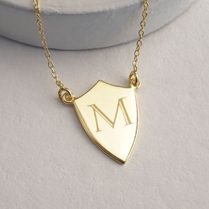 Monogram Shield Necklace - necklaces & pendants