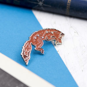 Vulpecula Fox Star Constellation Enamel Pin - pins & brooches