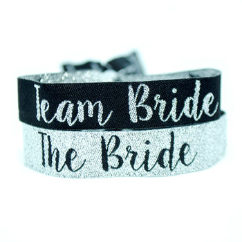 Team Bride Silver And Black Hen Party Wristbands