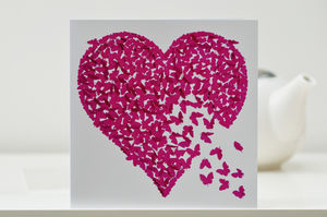 Pink Butterfly Heart Card