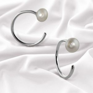 Everyday Sterling Silver Pearl Hoop Earrings - earrings