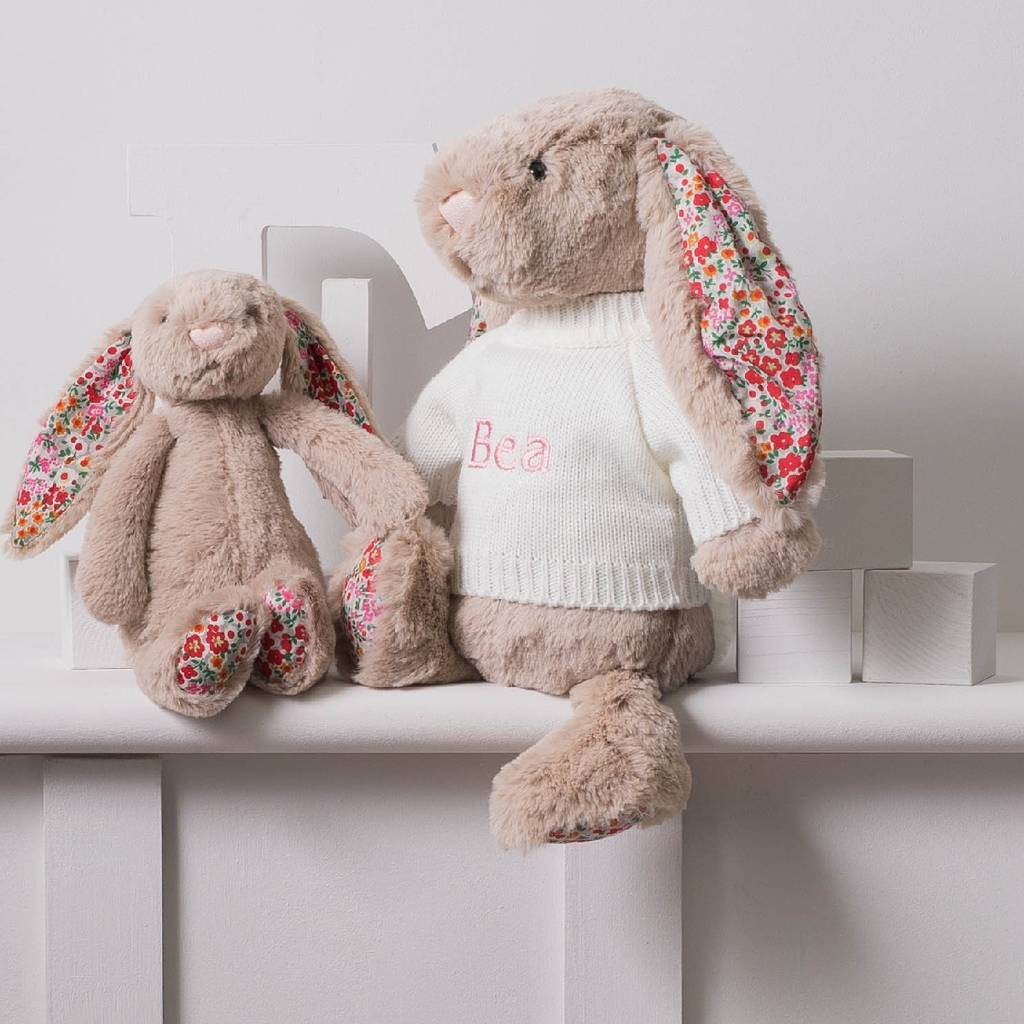 Personalised Blossom Beige Bunny Soft Toy