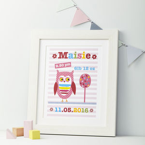 Girls Personalised Owl Framed Print