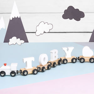 Wooden White Name Train - personalised gifts for babies