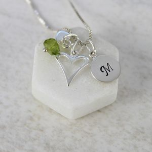 Personalised Childs Heart Necklace With Birthstones - more