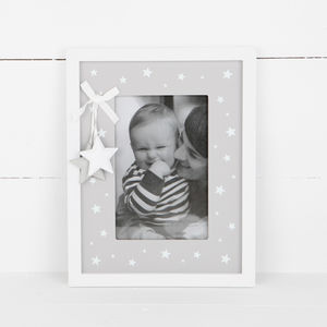 Grey And White Star Wooden Photo Frame - home accessories
