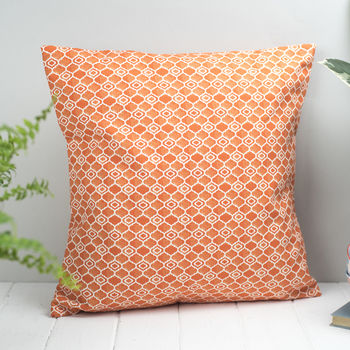 Alta Feather Cushion, Geometric Bright Orange Design