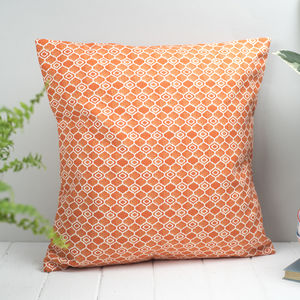 Alta Feather Cushion, Geometric Bright Orange Design - cushions