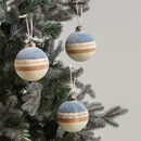 Three Blue Toned Baubles
