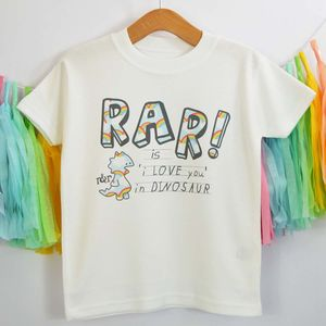 'Rar Is I Love You In Dinosaur' Rainbow T Shirt