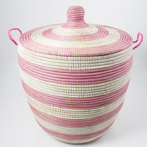 Alibaba Laundry Basket Set Two Pink Stripe Ast1 P